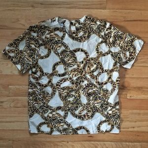 Vintage Casual Corner 100% Silk Animal Chain Top M
